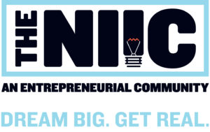 "The Northeast Indiana Innovation Center: An Entrepreneurial Community. Logo. Their slogan is ""dream big. Get real."""