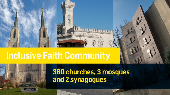 We have an inclusive faith community. There are 360 churches, 3 mosques, and 2 synagogues in Fort Wayne.