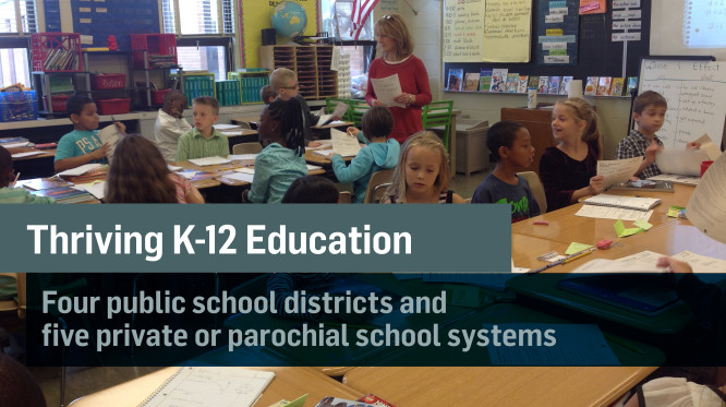 Fort Wayne has thriving K through 12 education. There are four public school districts and five private or parochial school systems.