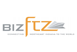 "Biz F. T. Z. Logo. They are a business foreign trade zone. Their slogan is ""connecting Northeast Indiana to the world."""