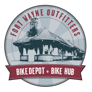 Fort Wayne Outfitters. Logo. They are a bike depot and bike hub.