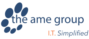 "The A. M. E. Group. Logo. Their slogan is ""I. T. Simplified."""