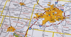 map of Fort Wayne and surrounding communities