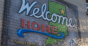 "mural in new haven, indiana, spelling out ""welcome home"""