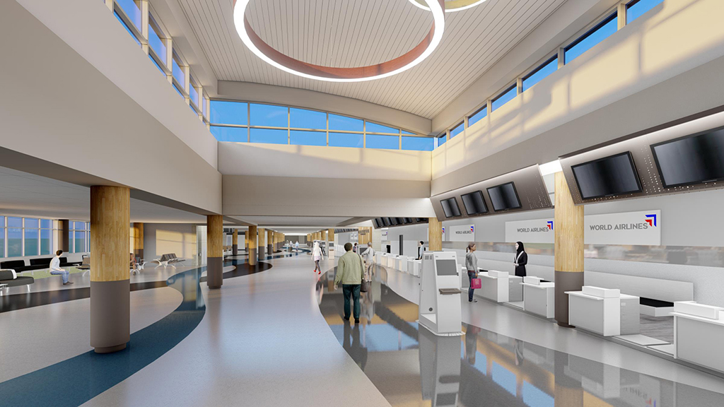rendering of brick airport exterior with parking lot in foreground