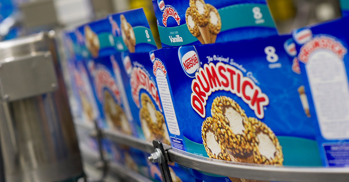 packaging for Nestle Drumsticks moving down factory production line