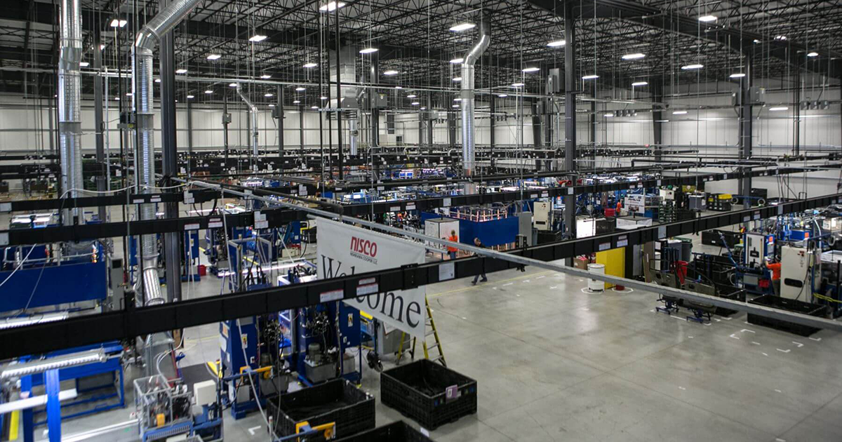 wide-angle interior photo of manufacturing floor