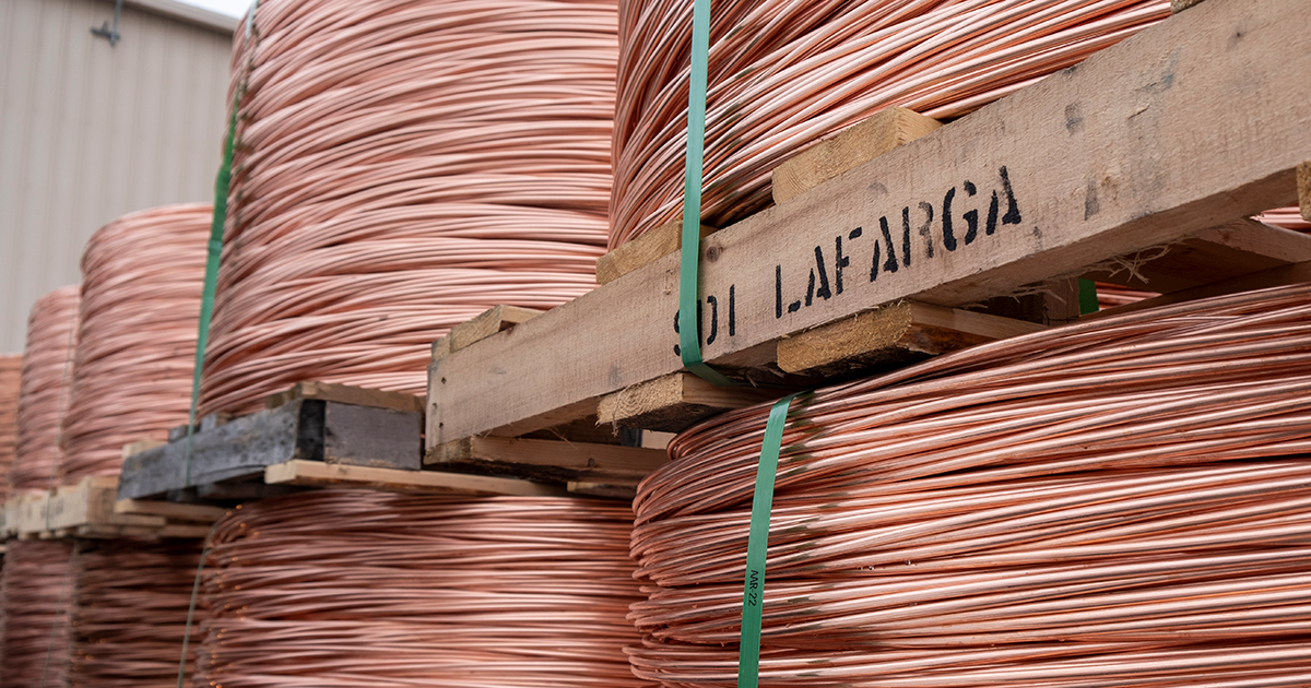 coils of copper on spools